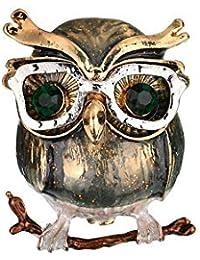 SKZKKヴィンテージフクロウエナメルラペルピン動物用コサージュ合金メッキラインストーン釉コサージュスカーフクリップギフト用女性かわいいピン
