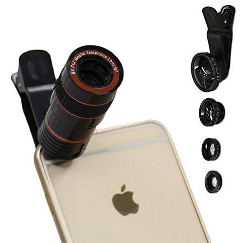 クリップ式カメラレンズセット 4 in 1カメラレンズ 8倍望遠レンズ+魚眼レンズ+広角+マクロレンズ iPhone 7/6 / 6s plus /Samsung Galaxy S7 / S7 Edge S6 / S6 Edge及びほとんどのAndroidスマートフォンに適用