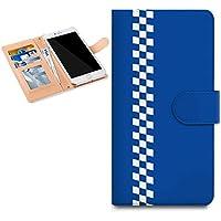 CelaCobo ZenFone 3 Laser ZC551KL スマホケース 手帳型 カバー 全208機種対応 チェッカー ブルー