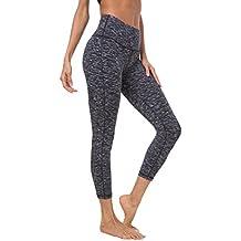 "QUEENIEKE Women 22"" Yoga Capris Power Flex Running Pants Workout Leggings(XL, Space Dye Black)"