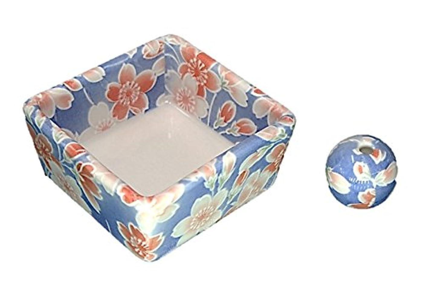 スノーケル発見おかしい和モダン 染桜 お香立て 陶器 角鉢 製造直売品