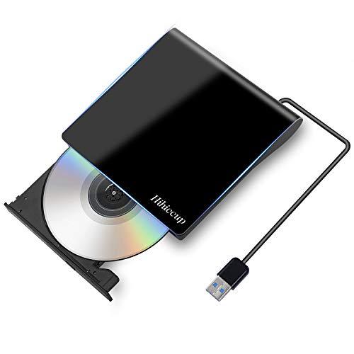 2019最新版 Hihiccup USB 3.0外付け DVD ドライブ DVD プレイヤー ポータブルドライブ CD/DVD読取・書込 DVD±RW CD-RW USB3.0/2.0 Window/Mac OS両対応 高速 静音 超スリム(ブラック)