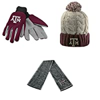 NCAAテキサスA & M Aggiesグリップ作業グローブGustビーニー帽子とHailスカーフ3パックバンドル