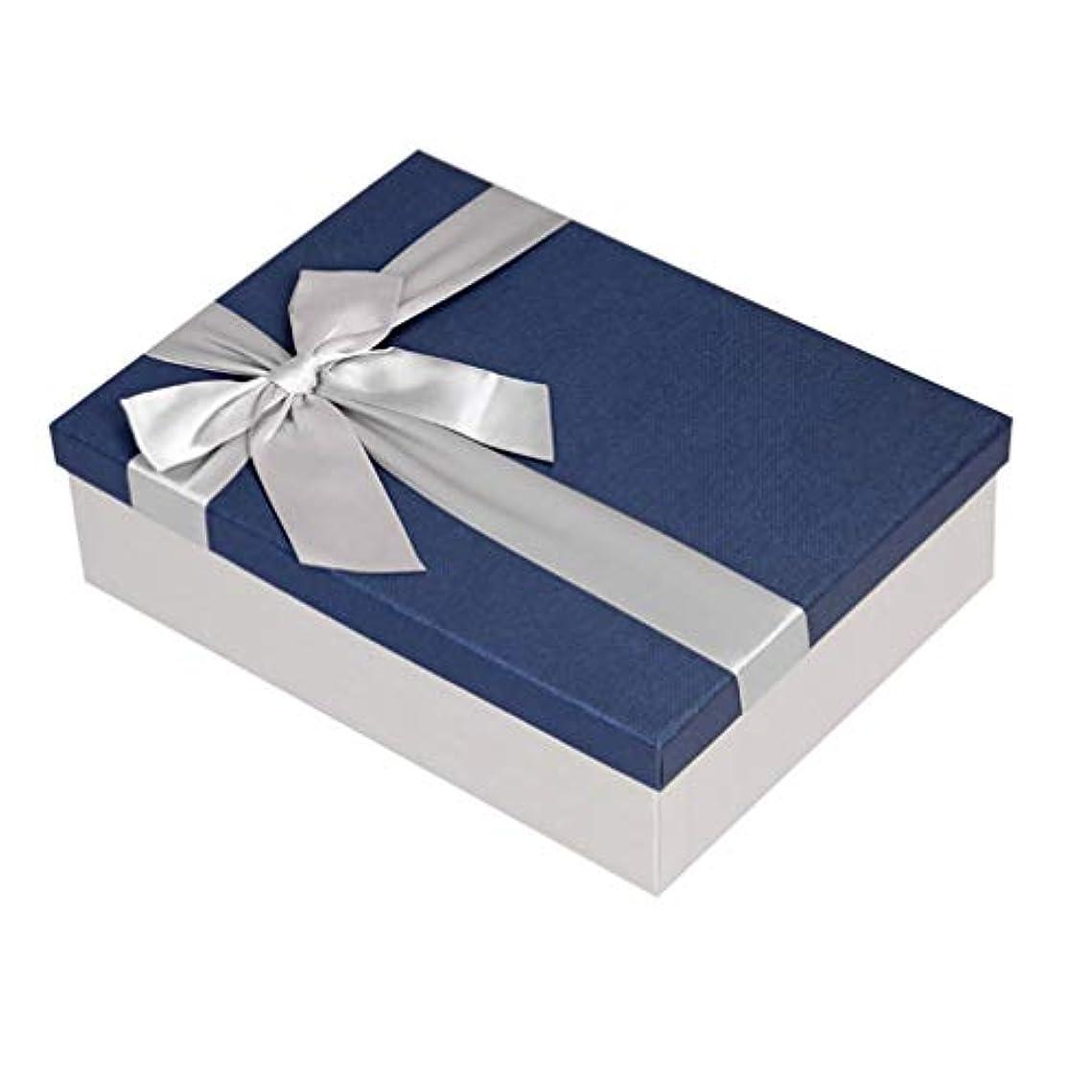 スポークスマン服を洗うその間Toyvian ギフトボックス長方形剛性ギフトボックスリボン服シャツスカーフクリスマス誕生日新年ギフト用ギフトボックス(サイズm青)