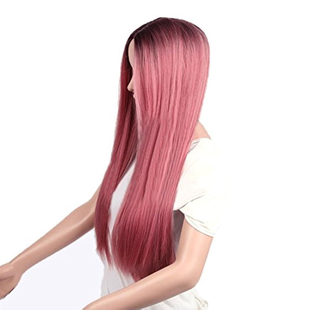 朝マトリックス強いますJIANFU 女性のための26インチの化学繊維の毛のかつらロングストレートナチュラルグラデーションの色はコスプレ/パーティーのロングロールバンズウィッグとピンクのかつらをローズ (Design : Rose pink2)