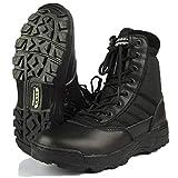 alohapi SWAT タクティカル ブーツ サイド ジッパー 式 ミリタリー ブーツ ジャングル ブーツ (01. ブラック 24.5cm)