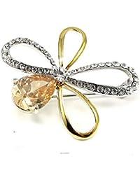 Glamorousky エレガントな花ブローチに銀と黄色いオーストリアの?エレメント?クリスタル (372)