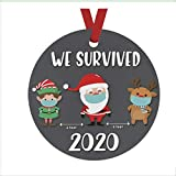 2020 Christmas Ornaments | Cute Santa Clause Wearing Mask with Gift | Ceramic Handmade Ornament | Xmas Tree Decoration Gifts