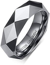 Rockyu ジュエリー 人気 ブランド タングステン リング 指輪 メンズ シンプル シルバー グラマラス リング 17号