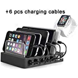 2020 Upgrade QC 3.0 Charging Station,AIZBO 60W 12A 6 Port Docking Stations & Desk Organizer with Quick Charge 3.0 & 5 Port USB Charger & Removable Watch Holder fit Multiple Devices iPhone/Iwatch/Tablet/Samsung Galaxy/LG and More