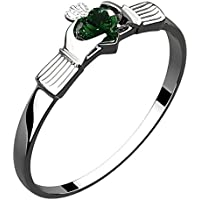 UPCO Jewellery Sterling Silver Irish Claddagh Ring, Green Emerald Cubic Zirconia Stone