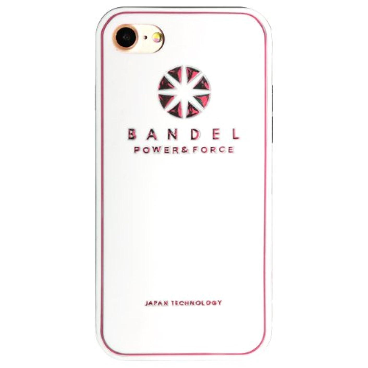 悪意コンテンツ気質バンデル(BANDEL) ロゴ iPhone 8 Plus専用 シリコンケース [ホワイト×ピンク]