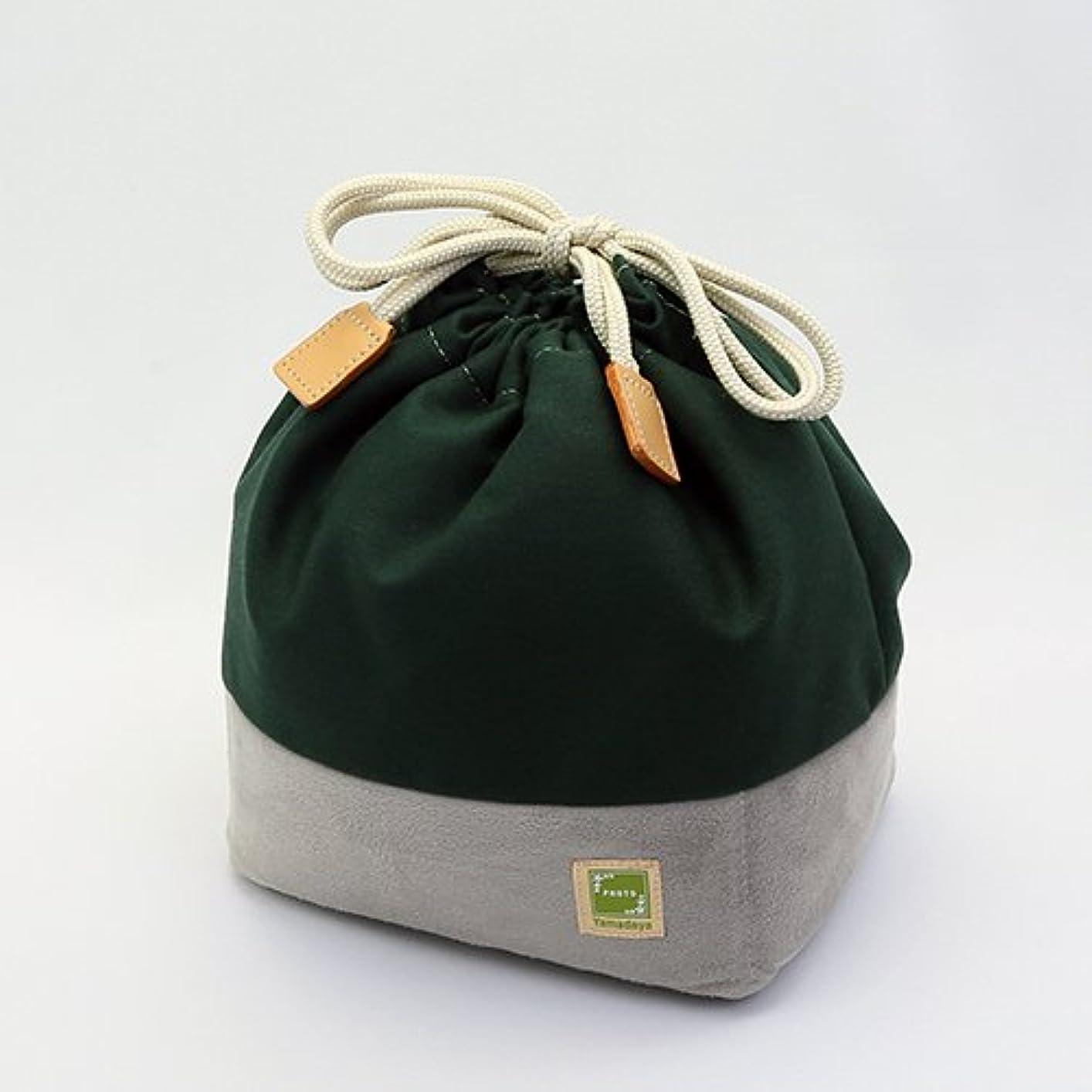 地雷原松の木日本製 カメラ巾着バッグ 小型一眼レフサイズ 帆布カメラきんちゃく袋L (オリーブ)