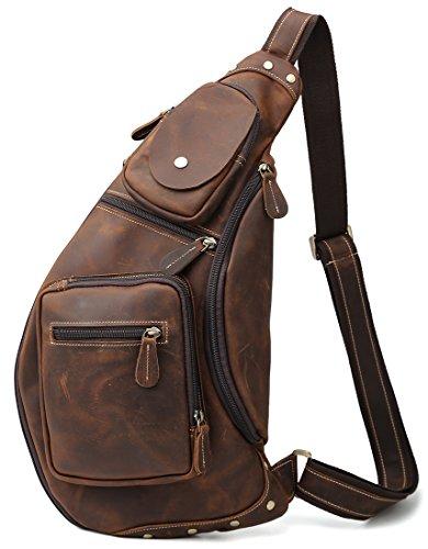 [(チョウギュウ) 潮牛] メンズ 本革 ボディバッグ 斜め掛けバッグ ワンショルダーバッグ レザー ヌメ革 牛革 iPad鞄 マチ拡張 ダークブラウン