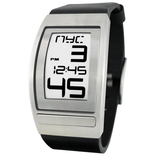 Phosphor フォスファー Men's WC03 World Time Curved E-INK Leather ストラップウォッチ 男性用 メンズ 腕時計 (並行輸入)