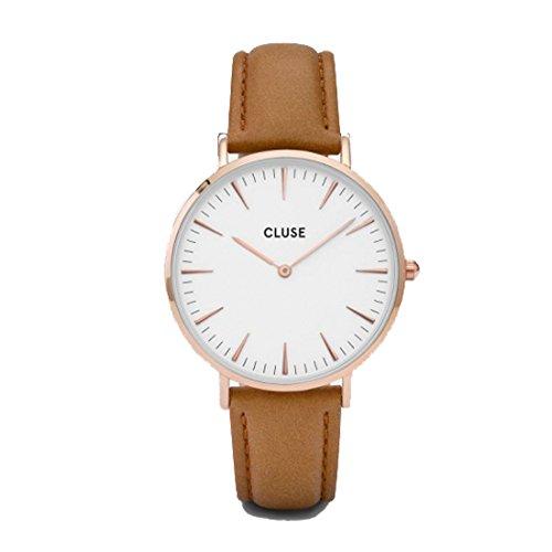CLUSE クルース LA BOHEME ラ・ボエーム ユニセックス アナログ 革ベルト 腕時計 38mm ローズゴールド ホワイト/キャメルレザー CL18011