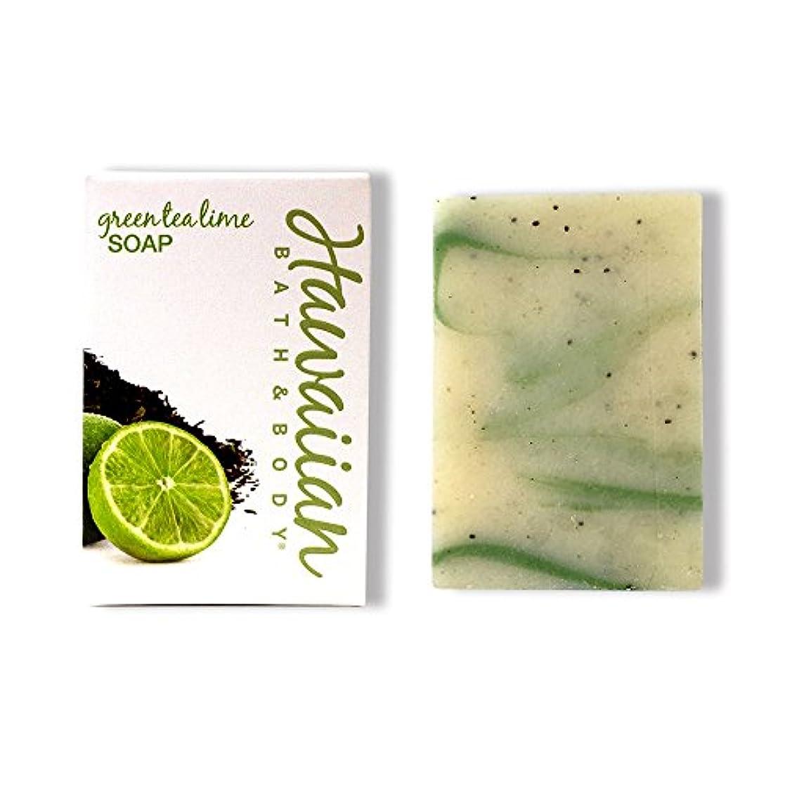 負担提供された延ばすハワイアンバス&ボディ グリーンティ&ライムソープ ( Green Tea & Lime Soap )