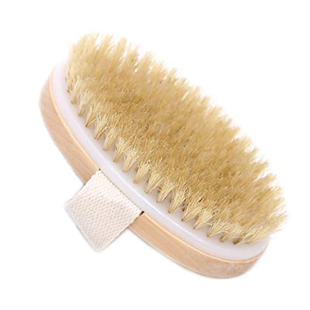 唇精通した失業Maltose ボディブラシ 豚毛 天然素材 木製 短柄 足を洗う 角質除去 美肌 バス用品 (C:12.5 * 7CM)