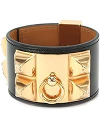 66868d90c2d5 未使用 展示品 エルメス HERMES コリエドシアン バングル ボックスカーフ ブラック ピンクゴールド 金具 X 刻印