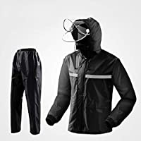 BYWSD Windproof and Rainproof Split Suit, Raincoat Rain Pants Double Thickening (Color : Black, Size : XXL)