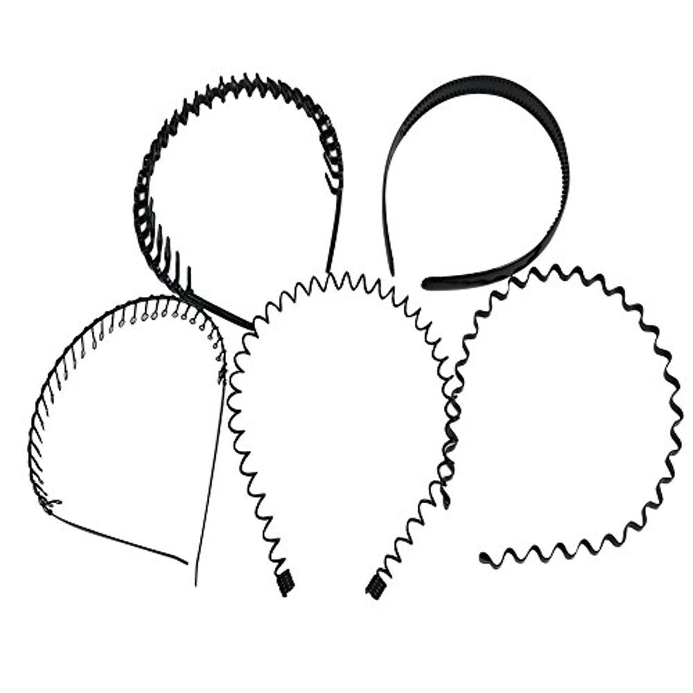 大混乱ペフ民主主義palaisgent カチューシャ 5種類セット 波型 コイル コーム付き シンプル ブラック 男女兼用