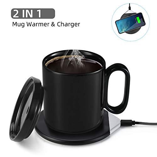 コップ保温器 カップウォーマー コーヒーウォーマー マグカップ付き 2way 飲み物保温用 恒温50~55℃ ワイヤレス充電器 デスク·オフィス·家庭用 友達·親友にプレゼント 品質保証