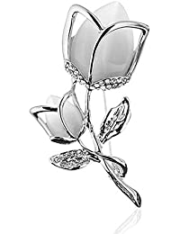 TULIP LY Created Crystal Brooch Crystal Rhinestone Rose Flower Fashion Pin Gift Women Girls Rose Gold