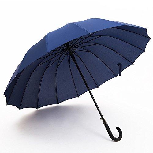 (アドンルル)adunlulu長傘 大きな傘 自動開けステッキ傘 紳士傘 耐風傘 撥水加工 梅雨対策 ブラック 112センチ blue