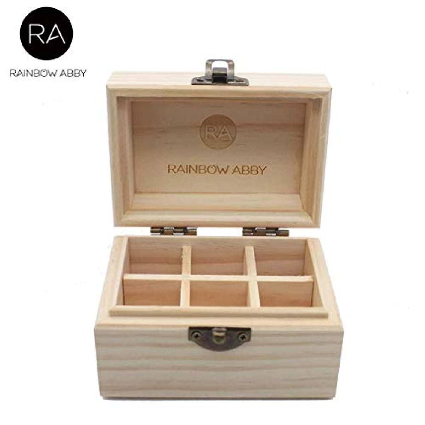 RAINBOW ABBY エッセンシャル オイル 収納 ボックス 5ml 10ml 15ml 6本 ボトル 用 完璧な エッセンシャル オイル ホルダー オーガナイザー パインウッド キャリング ケース 旅行/ギフト、4.3...