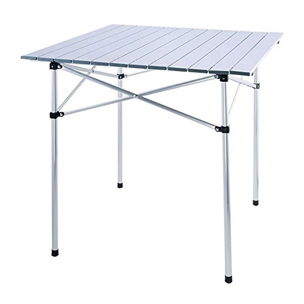 ガロン汚染された黙認するHewflit ロールテーブル 折り畳み式 アルミ製 70cmx70cmx70cm 2.78kg ロール式天板 収納袋付き