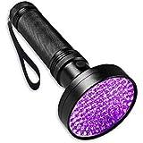 UV Black Light Flashlight,Super Bright 100 LED UV Torch Portable Blacklight Ultraviolet Detector Flashlight for Pet Urine, Ho