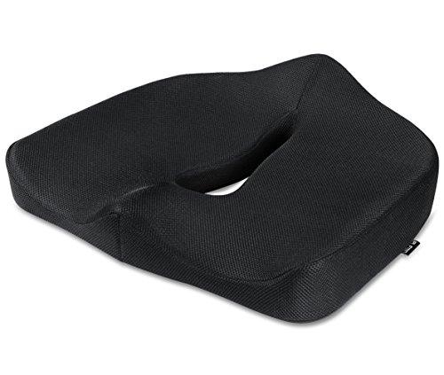 PLEMO 低反発クッションシート 滑り止め付き オフィス用 健康クッション 脊髄矯正 イスパッド ブラック LM-F1