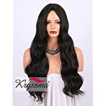 K'ryssma Dark Brown(#2) Long Natural Wavy Wigs For Women Realistic Looking Middle Parting Heat Resistant Synthetic Hair Wig for Daily Wear 24Inches