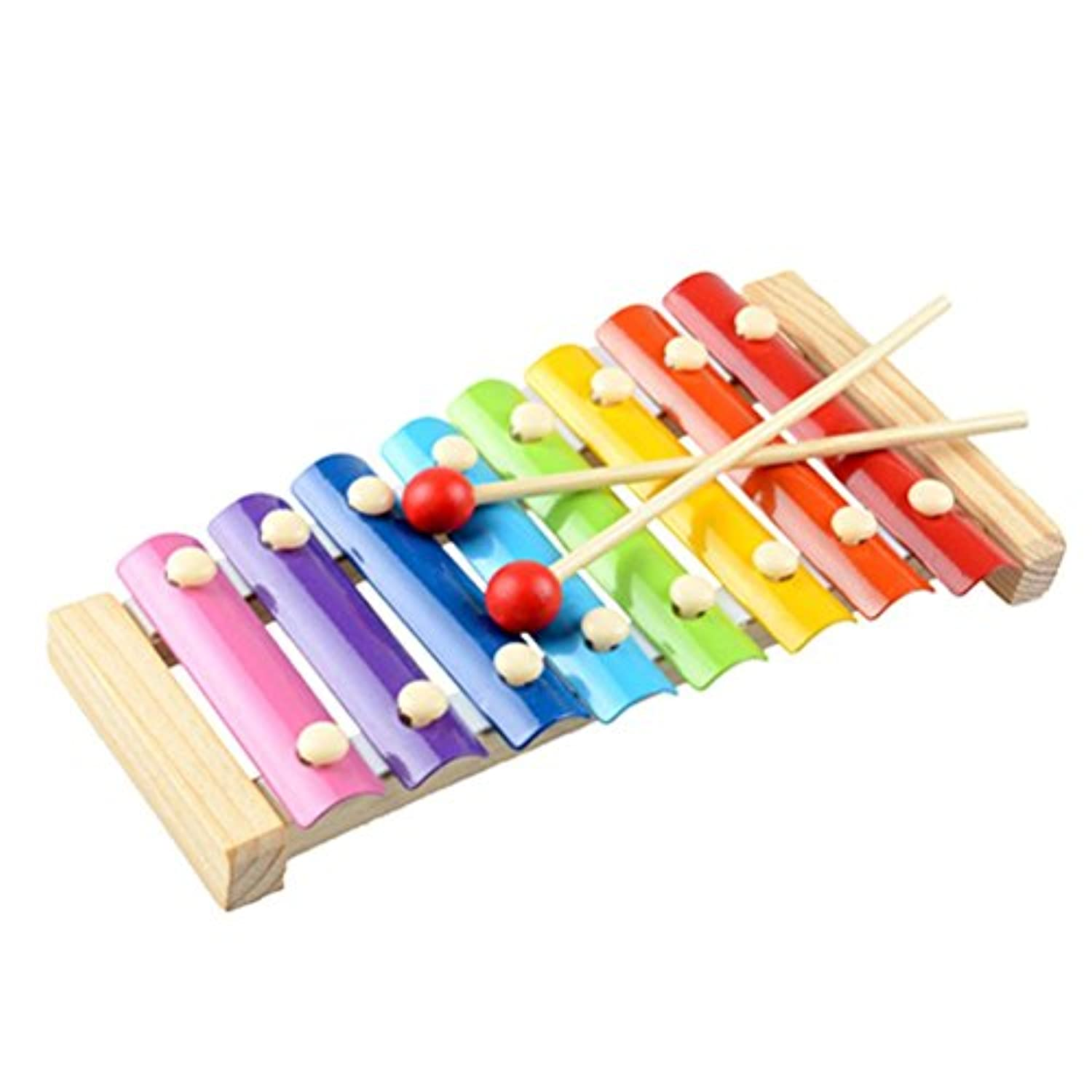 SUNONE11 Wooden Glockenspiel Xylophone 8 Notes Colourful Hand Knock with Two Mallets Musical Instrument Educational Toy for Kids Children's Day Gift,23cm x 13cm