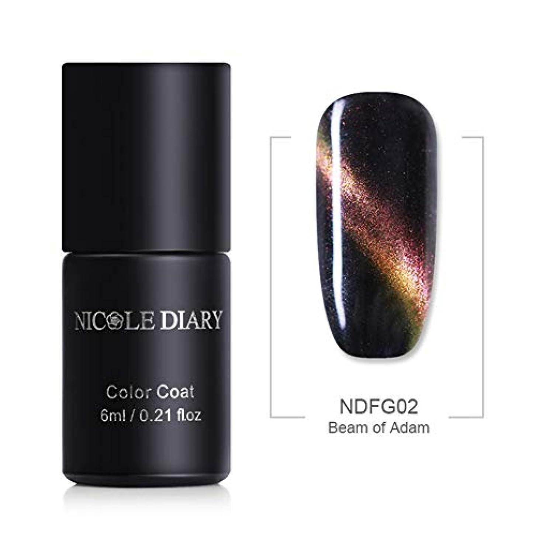 削る注釈輝度NICOLE DIARY キャッツアイジェル 夜空の銀河の様な魅惑的な輝度 5色グリッター入り 6ml UV/LED対応 6色 磁石で模様が入る キャッツアイ ネイル ジェルネイル NDFG02 Beam of Adam...