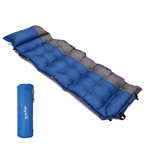 SKYWIN キャンプ用マットインフレータブルピロー、快適なセルフリバウンドポリエステル素材、キャンプ用ポータブル、195 x 65 x 5 CM Lサイズ旅行パッド