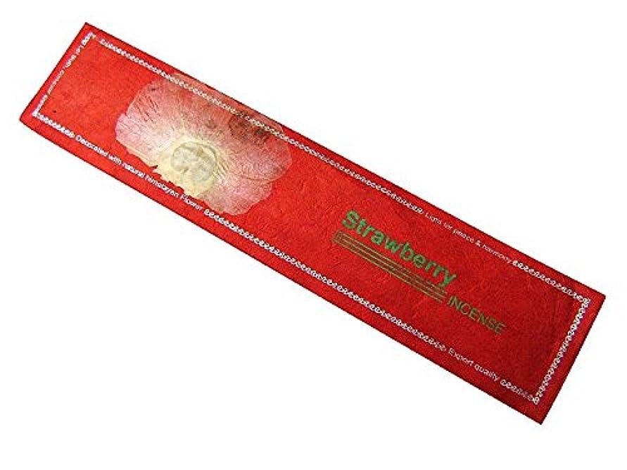 ファンタジー現象昼食NEPAL INCENSE ネパールのロクタ紙にヒマラヤの押し花のお香【Strawberryストロベリー】 スティック