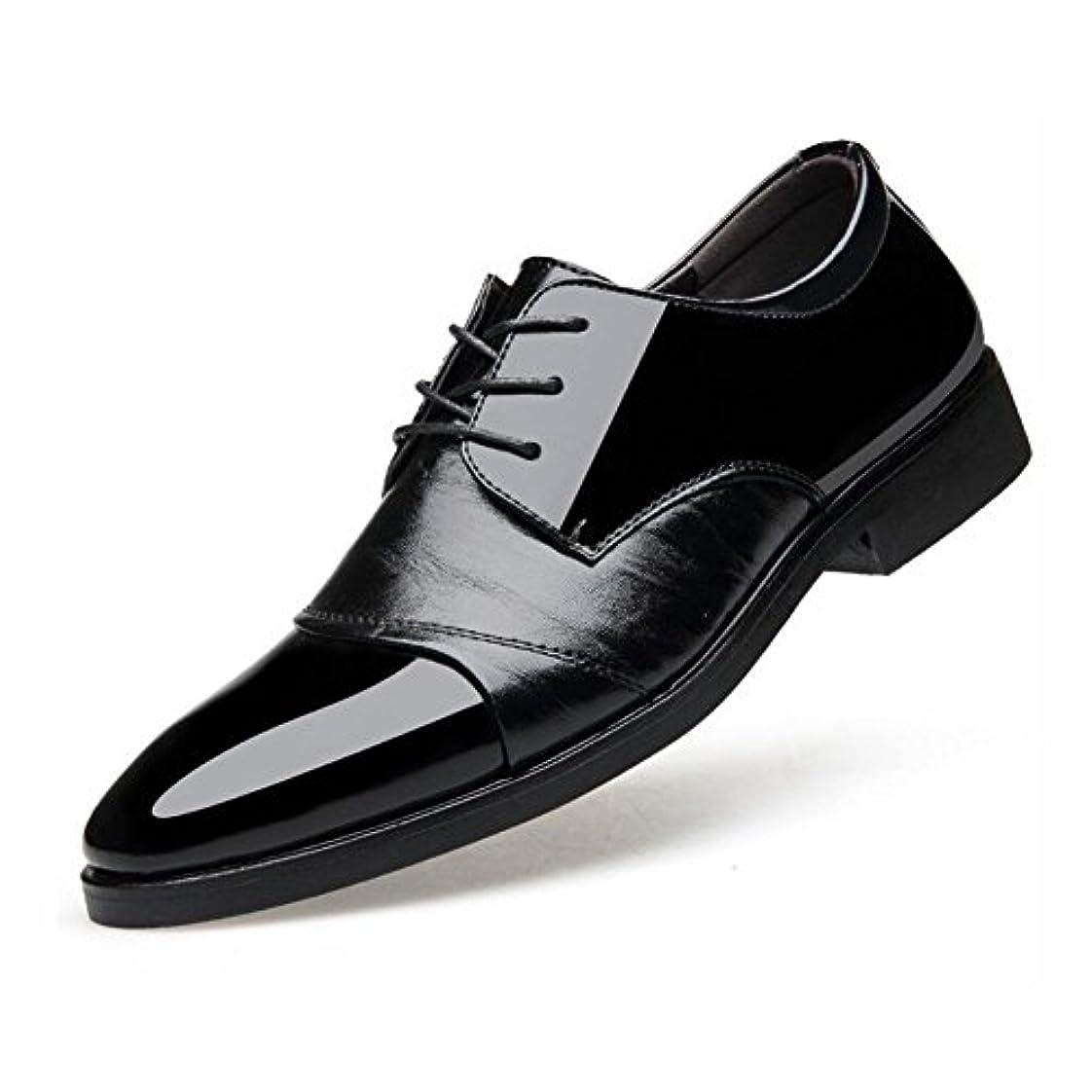 抜け目がない寛容帰するビジネス靴メンズドレス, 春の秋は、つま先の革の靴を指摘, 結婚式のファッショナブルなオフィスの靴をレース, カジュアルフラットブラウンブラック,Black,39