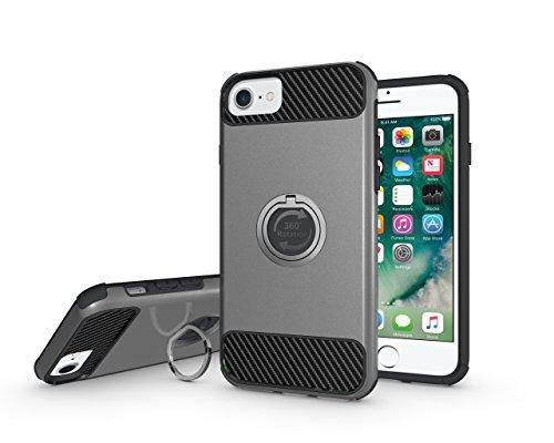 iPhone6/6s ケース iPhone7ケース カメラ保護 スタンドリング付き 360°専用ケース 耐衝撃 アイフォンケース シンプルケース オシャレ スタンドリング付き