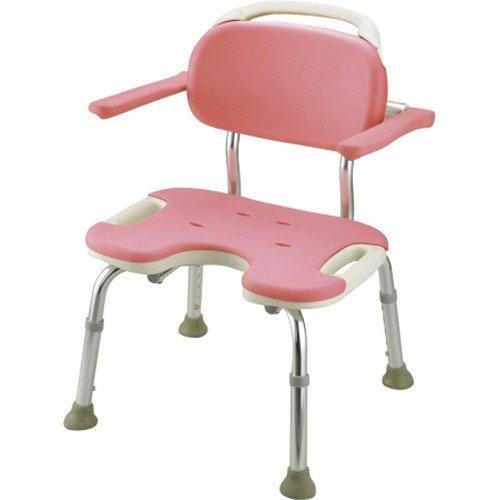 リッチェル やわらかシャワーチェアU型 肘掛付 ワイド ピンク