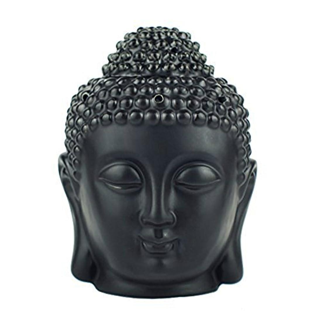 ワゴン驚かす胆嚢moylor Buddha Head Statueオイルバーナー半透明セラミックアロマセラピーDiffusers父の日のギフトとホームデコレーション(ホワイト&ブラック)