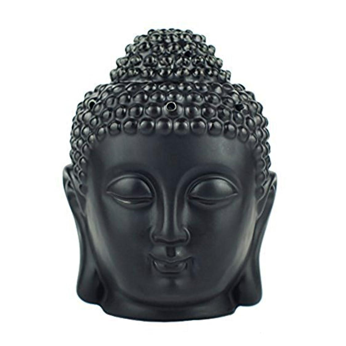 制裁キャンプ削除するmoylor Buddha Head Statueオイルバーナー半透明セラミックアロマセラピーDiffusers父の日のギフトとホームデコレーション(ホワイト&ブラック)