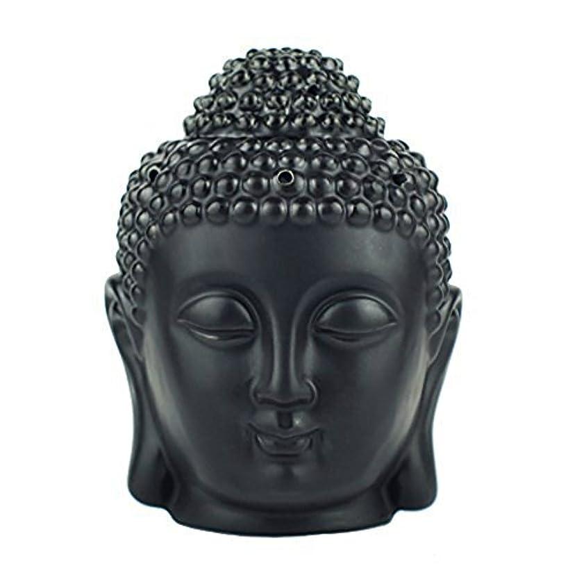 媒染剤モッキンバード説明的moylor Buddha Head Statueオイルバーナー半透明セラミックアロマセラピーDiffusers父の日のギフトとホームデコレーション(ホワイト&ブラック)