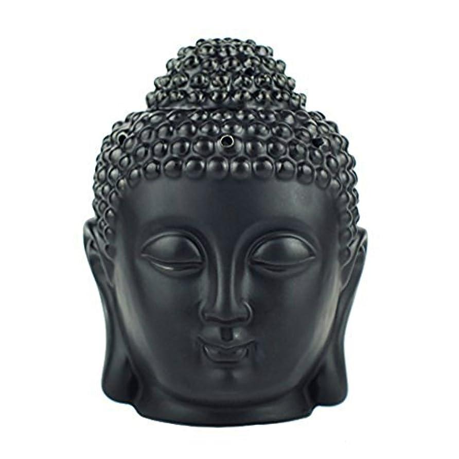 記念碑的な戸棚投資するmoylor Buddha Head Statueオイルバーナー半透明セラミックアロマセラピーDiffusers父の日のギフトとホームデコレーション(ホワイト&ブラック)