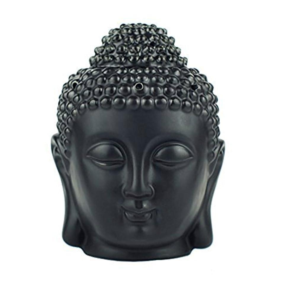 見る人に同意する推測moylor Buddha Head Statueオイルバーナー半透明セラミックアロマセラピーDiffusers父の日のギフトとホームデコレーション(ホワイト&ブラック)