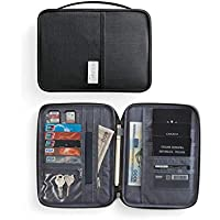 TT WARE Polyester Passport Bag Travel ID Card Wallet Waterproof Multifunction Credit Card Holder-Black-L