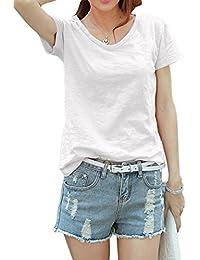 (ヌノネット) nunonette レディース Vネック Tシャツ シンプル 無地 綿 白黒紺灰色 S M L