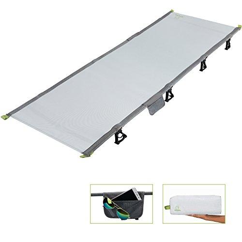 Atepa キャンプコット アウトドア 折りたたみ簡易ベッド コンパクト 航空アルミ カチオン生地 軽量2kg 収納袋・枕付き