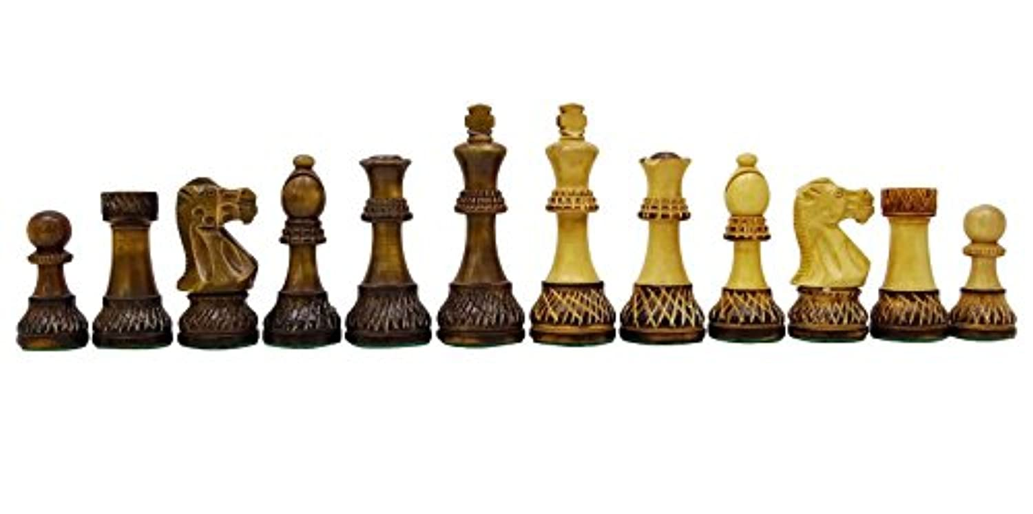 Chessmate Burntwood Hand Crafted Staunton 32 Chessmen Pieces Chess Game King's Height 93 mm Gift For Father