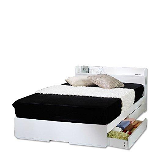 【平成最後の夏SALE】【フレームのみ】棚 引き出し収納 ベット 収納付き 木製ベッド コンセント付き 収納ベット 引き出し付きベッド カラー:ホワイト 白 サイズ:SDサイズ セミダブル